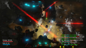 screenshot - mission 3 - huge battle with lasers flying around. Space Station in the background